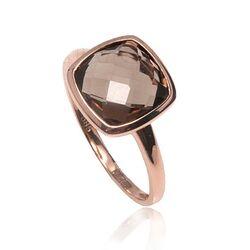 Rosegouden ring rookquartz