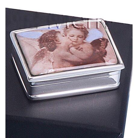 Zilveren doosje met engeltjes emaille