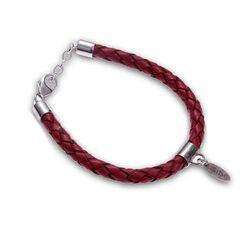 rood leren armband met zilver