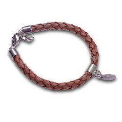 bruin leren armband met zilver van Side