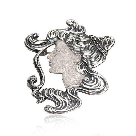 zilver hanger broche damesportret GL Timeless