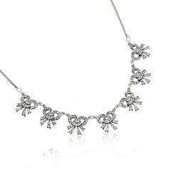Zilver ketting met strikjes Swarovski crystals GL