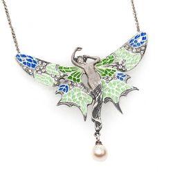 Zilver collier met vlinderhanger emaille GL