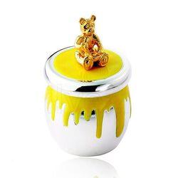 Carrs zilveren tandendoosje honingpot geel emaille kstb8-ss