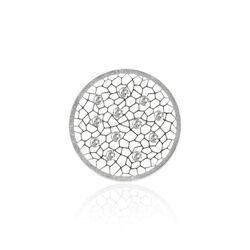 MY iMenso zilveren 24 mm cover honingraat patroon bezet met zirkonia