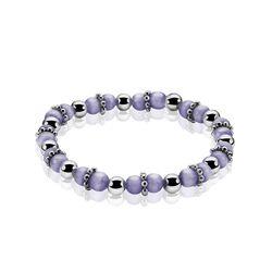 Rekarmbandje paarse beads met zilver ZIa931p Zinzi