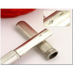 Zilveren breipenhouder met ribpatroon