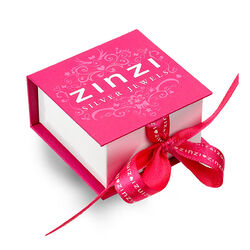 Rosé creolen met wit zirkonia hanger Zinzi