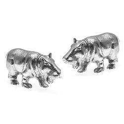 Stel Zilveren Tafelstukken Strooiers Nijlpaarden