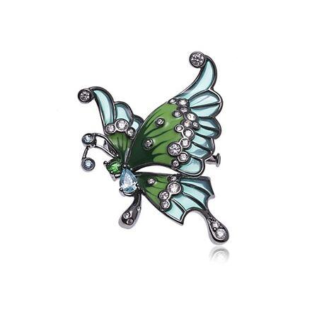 Diluca Zilveren Broche Vlinder Emaille Zirkonia