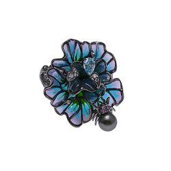 Diluca zilveren ring bloem vensteremaille spin