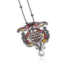 Diluca collier Art Nouveau stijl vensteremaille met parel