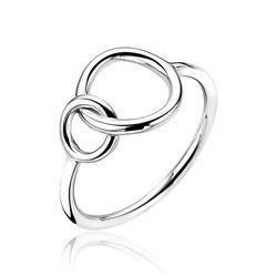 Zinzi zilveren ring met twee verbonden ronde vormen