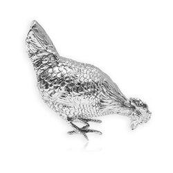 Gezellig Stel Zilveren Tafelstukken Haan En Hen Met Kuiken