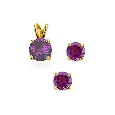 Gouden hanger met oorbellen paarse steen