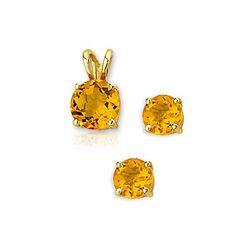 Sieradenset gouden oorstekers en hanger citrien