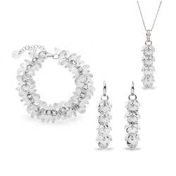 Spark Frou Frou set wit crystal ketting armband oorbellen