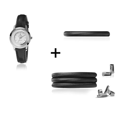 Christina horloge set zwart met zilver