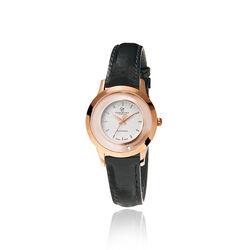 Christina zwart leren horloge met rosé kast