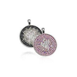 Zilveren hanger rond met zwart wit roze zirkonia ZIH864 Zinzi