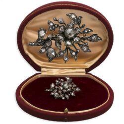 antieke gouden takbroche met vele roosdiamanten