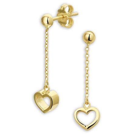 Lange gouden oorbellen met hartjes