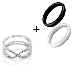 MY iMenso ceramiek ring set infinity zwart wit