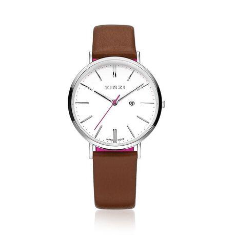 Zinzi horloge witte wijzerplaat bruine band ziw406c