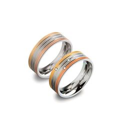 Boccia relatieringen set titanium tricolor ringen