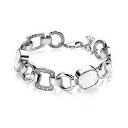 Zinzi zilveren armband met witte kleine en grote zirkonia's ZIA537