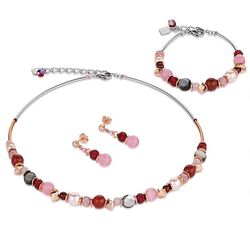 Coeur de Lion set rood roze Swarovski Crystal 4864-0319