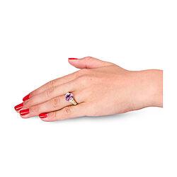 Geelgouden ring met briljantjes en amethist