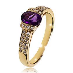 Gouden ring met amethist en 32 briljanten Old Memories Collectie