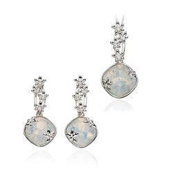 Element Silver zilveren hanger bezet met opal Swarovski Crystal