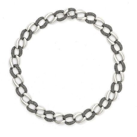 Zilveren gourmet collier bezet met markasiet