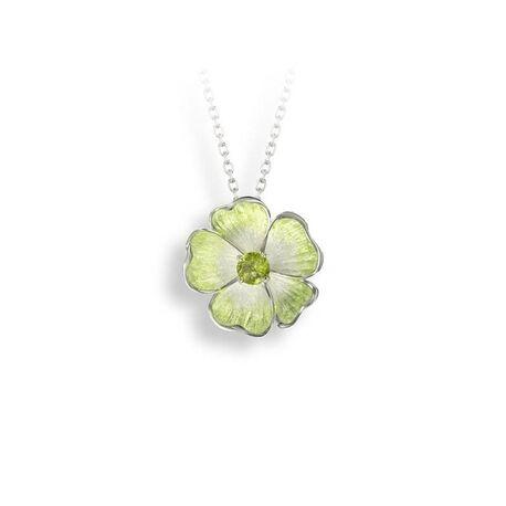 Nicole Barr zilveren collier bloem peridot