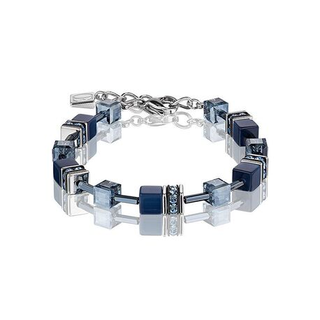 Coeur de Lion geocube armband donker blauw