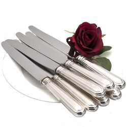Messen rondfilet zilver set
