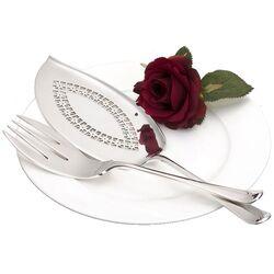 Zilveren visdienschep met vork model 250