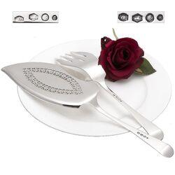 Visdienschep met vork zilver Hollands glad