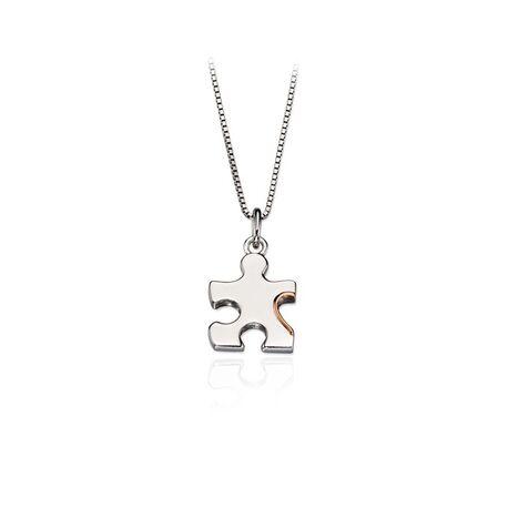 D for Diamond zilveren hanger puzzelstuk