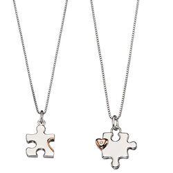 D for Diamond moeder en dochter hanger puzzelstukje