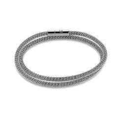 Coeur de Lion stalen mesh armband zilver