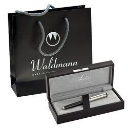 Waldmann zilveren balpen Edelfeder chocoladebruin