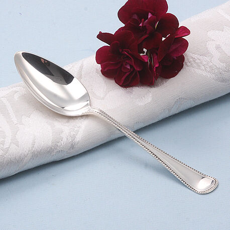 Zilveren kinderlepel parelrand
