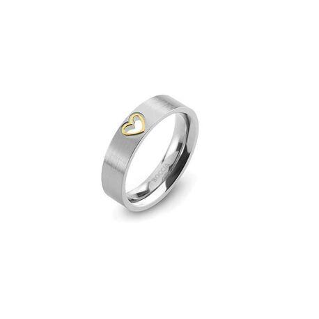 Boccia Titanium ring verguld hartje