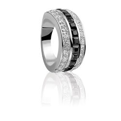 Zinzi ring zwarte witte zirconia Zir307z
