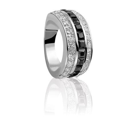 Zinzi ring met zwart en wit zirconia zir307z