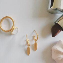 Julie Sandlau verguld zilveren Bamboo ring white