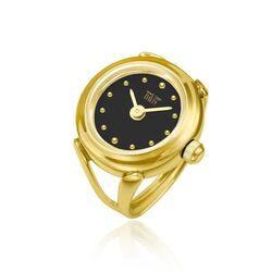 Davis verguld stalen ring horloge zwart